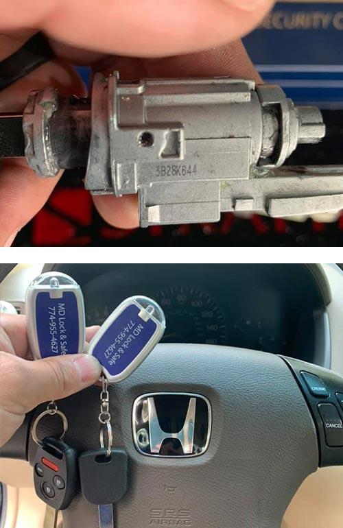 Honda Ignition lock (top) and newly-programmed keys (bottom)