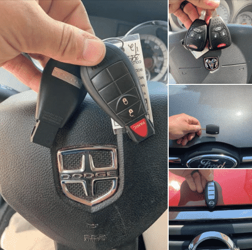 car key and fob collage with Dodge, Ford, and Nissan keys and fobs.
