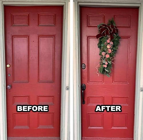 """""""Before"""" view of a red door with mismatched door knob and deadbolts (left) and the """"After"""" view with brand new matching deadbolt and door handle in oil-rubbed bronze finish (right)"""