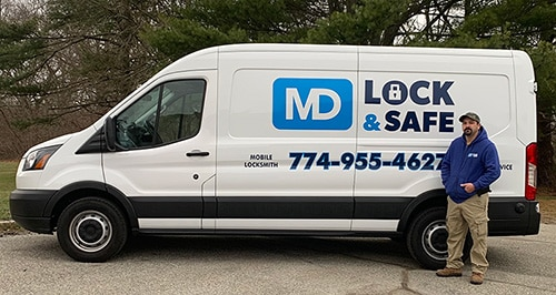 MD Lock & Safe truck and owner Michael Dussault