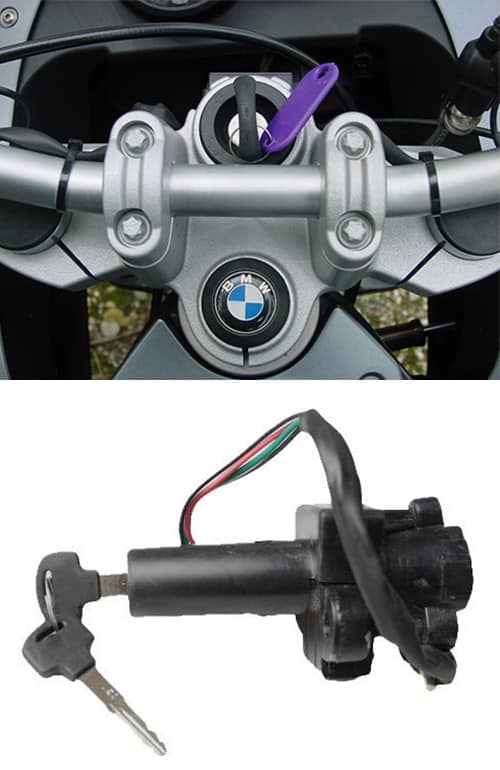 image of a BMW motorcycle with a newly-cut key in the ignition (top) and a motorcycle ignition lock (bottom)