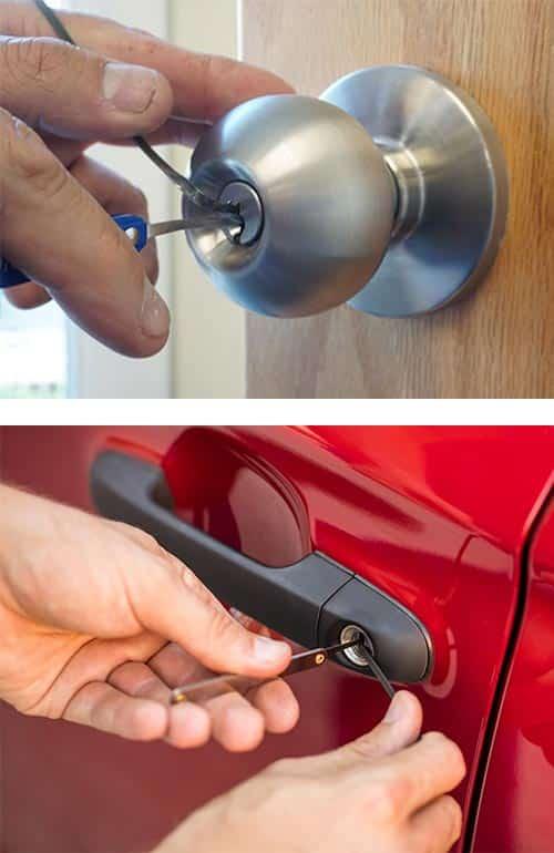 image of an office door lock being picked (top) and a car door lock being picked (bottom)